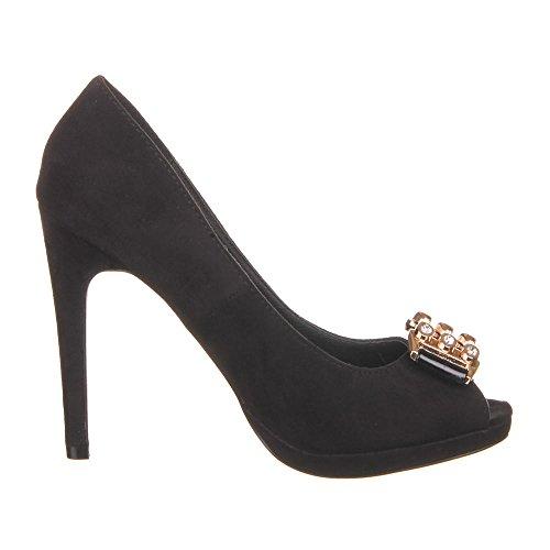 Damen Schuhe Pumps High Heels Plateau Ital-Design Schwarz