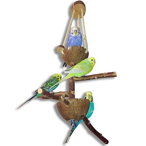 Vogelspielplatz mit tollen Sitzstangen aus Naturholz und zwei Futterschalen aus Kokosnuss | Der besondere Futterplatz und Spielplatz für Ihren Vogel - Das perfekte Vogelzubehör und Vogelspielzeug für jeden Vogelkäfig bzw. Vogelvoliere