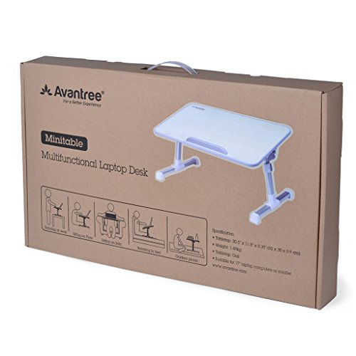 [2 Year Warranty] Avantree Adjustable Laptop Stand Bed Table, Portable Standing Desk, Foldable Sofa Breakfast Tray, Quality Notebook Stand, Book Reading Holder for Couch Floor Kids – Minitable
