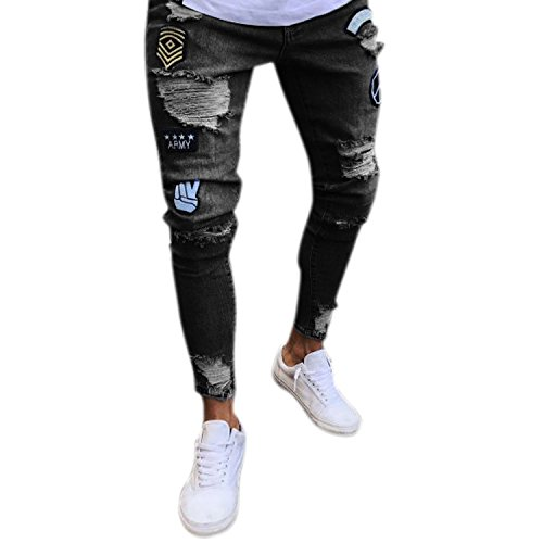 Bold Manner Herren Jeans Skinny Stretch mit Löchern Jeanshosen Used-Look Slim Fit Destroyed Denim Streetwear (Männer Für Zerrissene Jeans)
