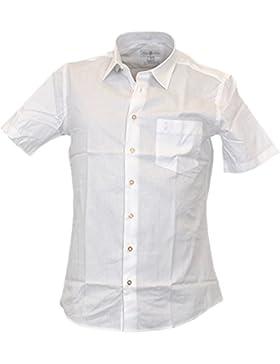 Almsach Slim Fit Trachtenhemd Kurzarm Dorian in weiss