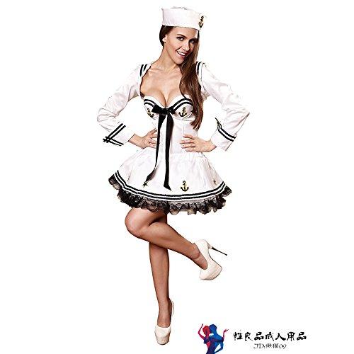 DavDoyNavy uniform Sailor kleid kleid, Europäischen und Amerikanischen COS Rollenspiele für Damenwäsche, 2 XL, Fell rock Cap (Kleid Uniform Navy)