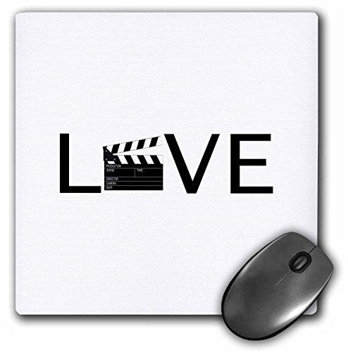 3drose LLC 20,3x 20,3x 0,6cm Mauspad Love mit Film Klöppel für O Filmen Buff Film Making schwarz Text (MP 180481_ 1)