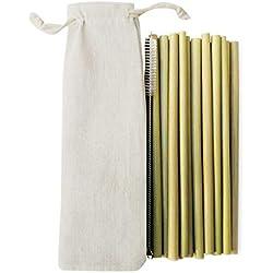 Morza 10pcs Vert Bambou Naturel Pailles à Boire Accueil réutilisable écologique Cuisine Brosse de Nettoyage