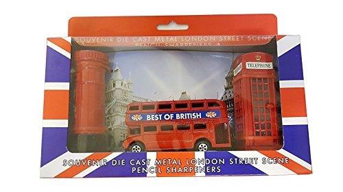 London Street Scene 3Anspitzer Set–Die Cast Metall/Red Telephone Box/Routemaster Doppeldecker Bus/British Post Box Druckguss/UK Souvenir/Union Jack Box/Schule Office Home Geschenkidee (Jack Box)
