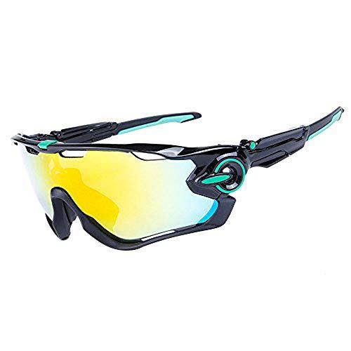 ZoliTime Radfahren Sonnenbrille polarisierte Herren Sportbrille 4 Objektiv Radfahren Brille Fahrradbrille (Schwarzes & Grünes Logo)