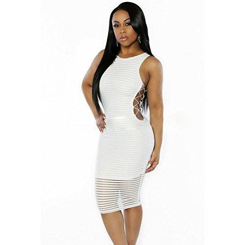 meinice Dress a coste Crisscross lati vestito White