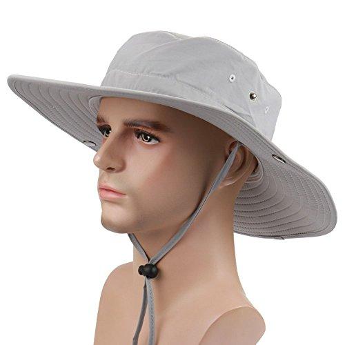 Chreey Multifunktionale Outdoor Breitseite Fischer Hut Buschhut Cowboy-Hut Atmungsaktiv Sonnenschutz UV-Schutz Hut Hüte [Hellgrau]