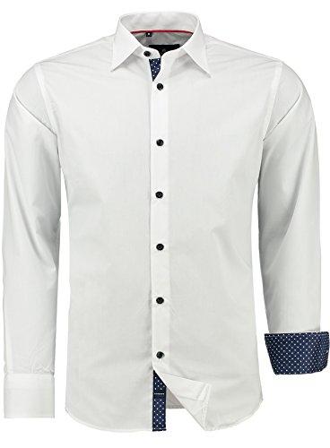 Barbons Herren Premium Business-Hemd Slim-Fit Männer Hemden für Freizeit, Business und Hochzeit - Super Modernes und Bügelleichtes Langarm Premium-Hemd weiß 2XL