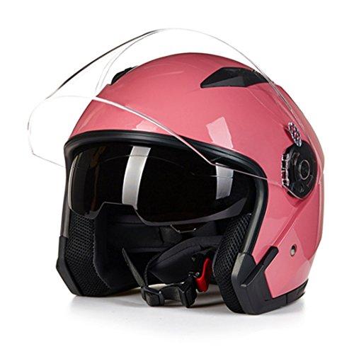 Harleeyr Helm-Motorrad-Offenes Gesicht Para Moto, Das Motorrad-Weinlese-Sturzhelme mit Doppelobjektiv Läuft Pink M
