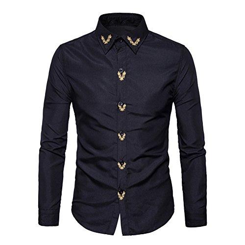 Camicie uomo slim fit maniche lunghe basic con bottoni nero medium