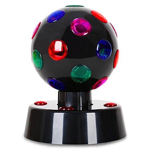 oneConcept Disco-Ball-4-B • Discokugel • LED-Leuchtkugel • Lichteffekt • 13,5 cm Durchmesser • motorisierte Drehbewegung • 5 LEDs • 23 Farblinsen • abwechslungsreiche Effekteinlagen • geringe Wärmeentwicklung • langlebige Konstruktion • schwarz