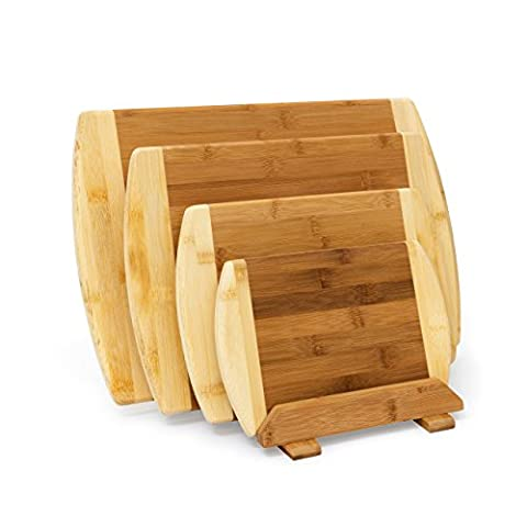 Relaxdays Chopping Board Bamboo Set Of 4 With Stand: 28 x 44 x 30 cm Cutting Board Set Four In Different Sizes Two-Colored Wood Double-Sided, Knife Blade Protecting Breakfast Board, Natural Brown