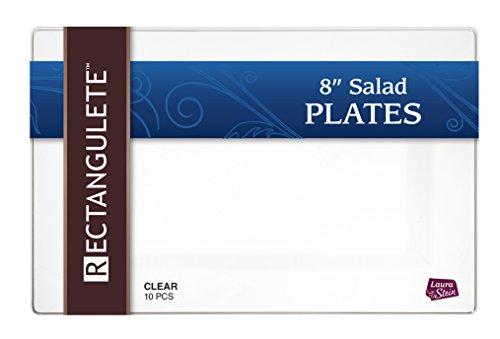 rectangulete 25,4cm Rechteck klar Salat-Vorspeise Teller, Einweg, harter Kunststoff, elegante Party Teller. 10Party Aperitif-Salat Teller Pro Paket