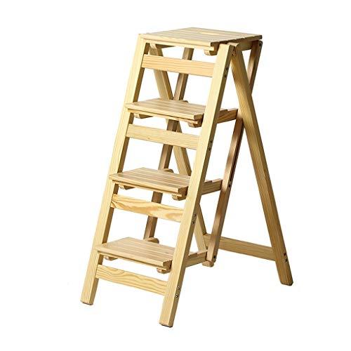 Klapptreppe Klappstufen Klapptritt Trittleiter 2/3 / 4 Stufen aus Holz leicht und faltbar für Kinder Erwachsene für Bibliothek Loft Küche Home Dekoration - 150 kg Kapazität (Natural) -