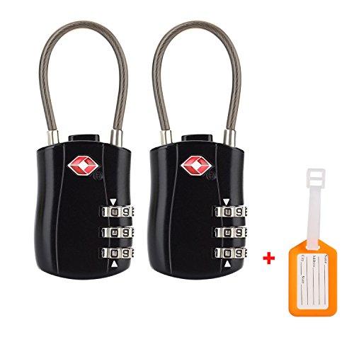 Equipaje de TSA Luggage Locks Equipaje Aprobadas por Cable 3 Cerraduras de Pasaporte de Combinación de Marcación (2pac) para Maletas de mano Gimnasio Black Lockers de Contraseñas y más