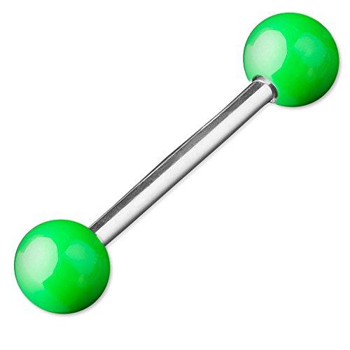 viva-adorno® Barbell Piercing Stab Zungenpiercing Chirurgenstahl Stahlkugeln glänzend emailliert verschiedene Farben Z374, neon grün Z373