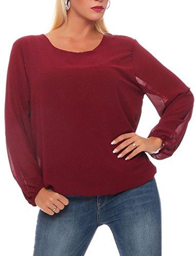 malito Bluse Rückenfrei Klassisch Tunika Hemdbluse Oberteil T-Shirt Top Loose Longsleeve Oversized Slim Fit Skinny 2375 Damen One Size Bordeaux