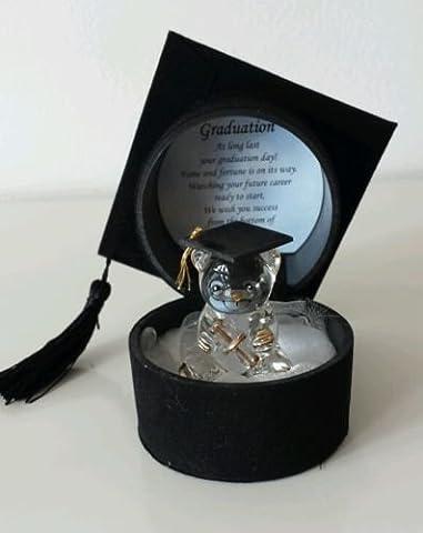 Glass Graduation Teddy Bear with Poem in Mortar Board Cap Box