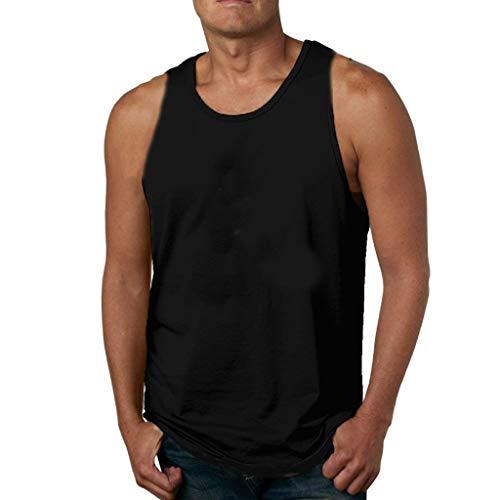 Haughtily Herren Einfarbig Plus Size Weste O-Ausschnitt Ärmellos Sport Fitness T-Shirt Sommer Freizeit Sweatshirt Scoop Neck Fleece Sweatshirt
