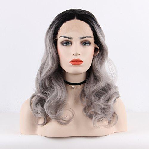arimika Ombre gris plata Bodywave calor suave sintético seguro Bouncy capas Encaje frontal peluca para mujer