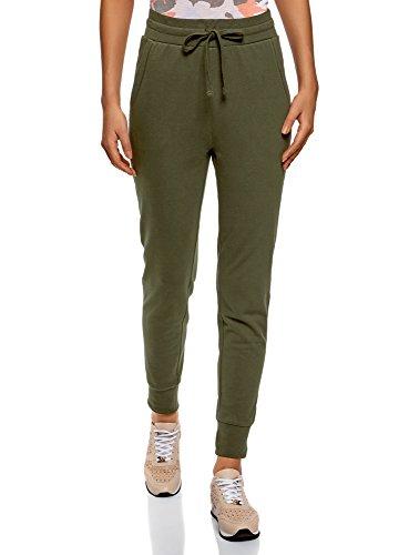 oodji Ultra Mujer Pantalones de Punto con Cordones, Verde, ES 44 / XL