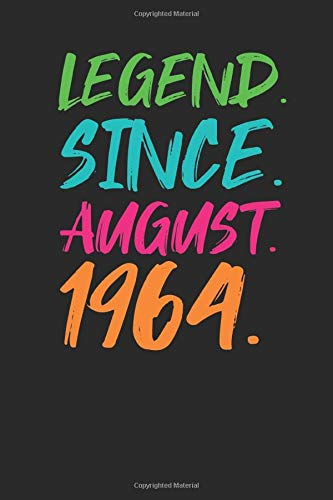 Legend Since August 1964: Blank Lined Notebook / Journal (6 X 9 -120 Pages) - 55th Birthday Gift Idea (55th Birthday Ideen)