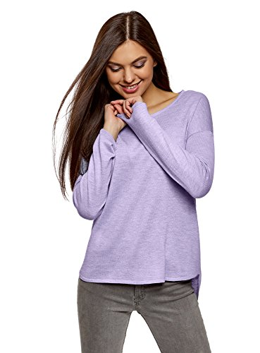 oodji Ultra Damen Lässiger Pullover mit Rundhalsausschnitt, Violett, DE 34 / EU 36 / XS - Pflaume-pullover-strickjacke