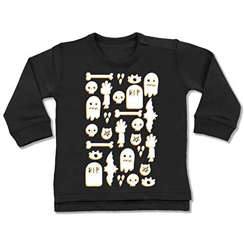 Shirtracer Anlässe Baby - Halloween Totenkopf Mosaik - 18-24 Monate - Schwarz - BZ31 - Baby Pullover