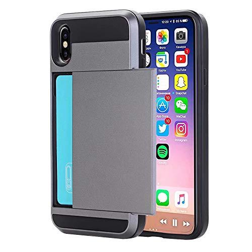 QINPIN Für iPhone XR 6,1 Zoll Rüstung Mit Kartenfach Brieftasche Halter Slot Telefon Hülle Grau