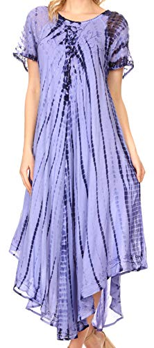 Sakkas 17601 - Yasmin Abbindebatik gestickte Sheer mit Flügelärmeln Sundress | Cover Up - Blau - OS - Sheer Cover-up-hose