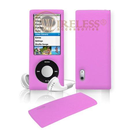 Massif Rose en Silicone Skin Housse Coque Étui MP3Protection d'écran pour Apple iPod nano 5e génération