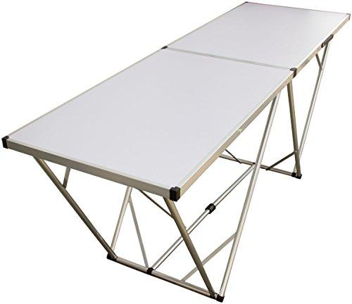 Beach & Pool Mehrzwecktisch 200x60 cm, weiß, Aluminium-Rahmen, Partytisch, Flohmarkttisch, Tapeziertisch