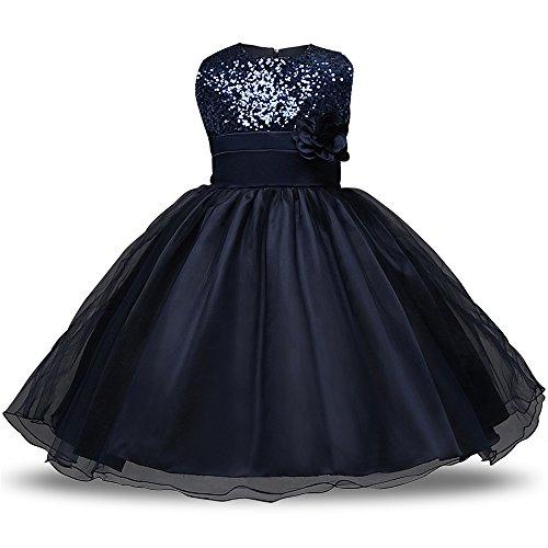 Fancy Dress Für Kostüm J - KINDOYO Baby Mädchen Blume Rock Sommer Sequins Kleider Kleinkinder Prinzessin Ärmellos Fancy Kostüm Kleid, Blau