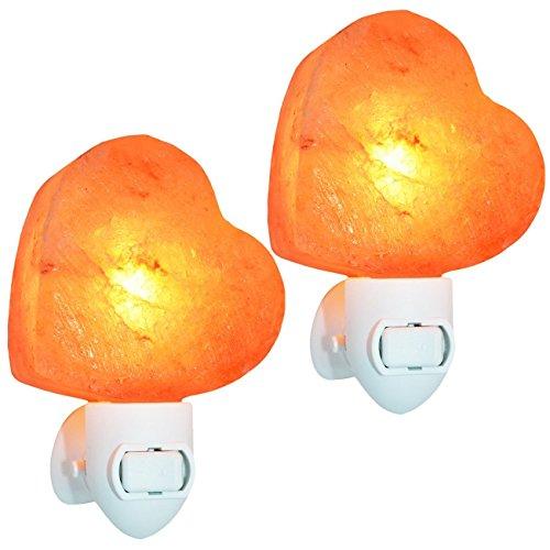 Natürliche Himalaya Salz Lampe, Hand geschnitzte Stecker in Kristall Salz Lampe natürliche Luftreiniger und Dekoration Nachtlicht mit normaler Lampe und Multi Color Changing Glühbirne herzförmige -
