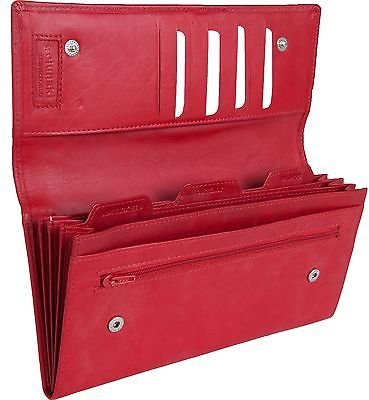 Leather Travel Document Wallet / Organiser / Case (Red)