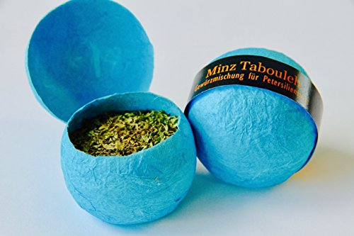 Minz Tabuleh –Gewürzmischung für Petersiliensalat– In einer handgemachten Schale aus Strohseide (7g) –Ideal als Gourmetgeschenk – Gewürzschätze von Feuer & Glas Arabische Gerichte-set