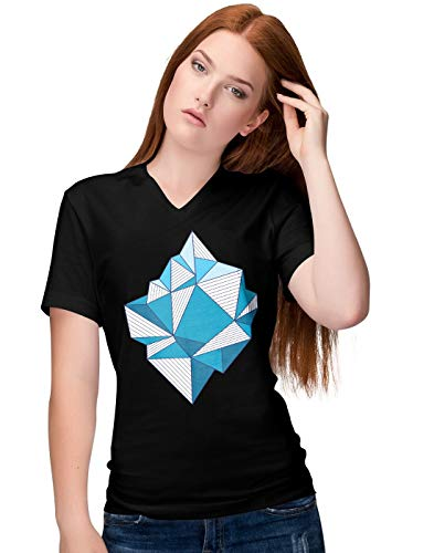 BLAK TEE Damen Abstract Iceberg Art V-Neck T-Shirt S -