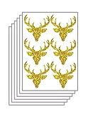 homker Goldener Elchkopf-Wandaufkleber Für Schlafzimmerschale Und Stock Ninyl Fliesenabziehbilder,7.5cm×7cm,36 Stück