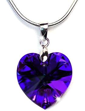 Halskette mit SWAROVSKI CRYSTAL 6228 XILION Herz 18mm Crystal Heliotrope, 925 Sterling-Silber Anhängeröse und...