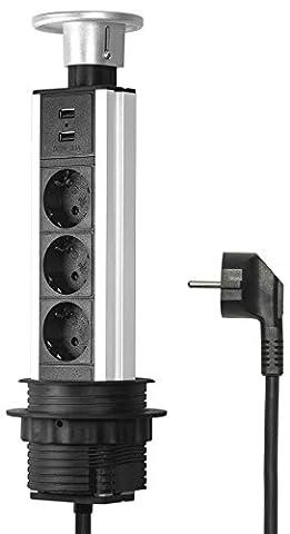 Elbe versenkbare Tischsteckdose 3 fach mit USB, Tischsteckdosenleiste mit Chromedeckel und 2 USB-Anschlüsse, Steckdosenleiste aus Aluminium mit 1,5m Anschlusskabel, für Büro-, Arbeits- und Küchenflächen_EL1803UM