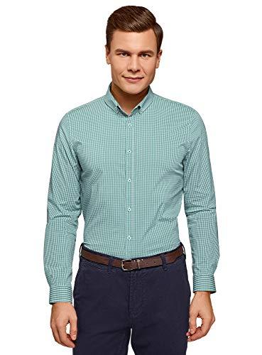 Oodji Ultra Hombre Camisa Extra Slim Cuadros Pequeños
