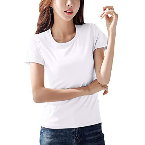 Geilisungren Cuello Redondo Camiseta de Manga Corta Color Puro para Mujer Elegante Manga Corta Manga Larga Camisa Suelta Mujer Casual Verano Invierno Primavera Shirts(Blanco,XL)
