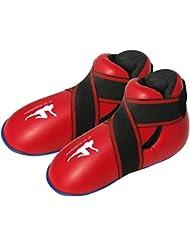 Rouge kickboxing bottes semi / complet contact kick de boxe Bottes pied patin enfants / Adultes kick de Boxe pied patins