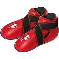 Botas de Kickboxing Rojas Semi/Botas de Boxeo de Contacto Completo para niños/Adultos Kick Boxing pies Almohadillas (Extra Grande). Tallas para Adulto/Zapatos 11-13
