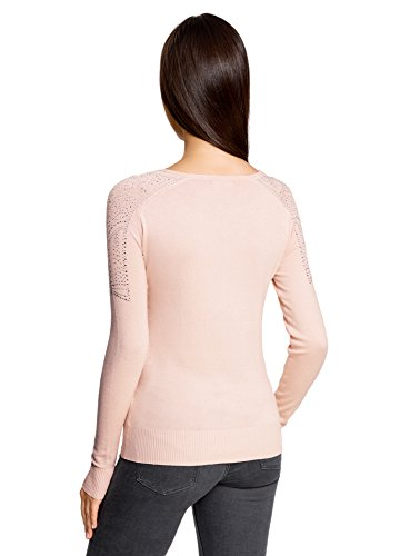oodji Ultra Donna Maglione con Strass sulle Spalle Rosa (4000N)