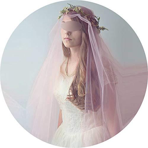 SUGA93 Voile Mariage 3M Eine Schicht Schnittkante Rosa Kathedrale Brautschleier Lange Brautschleier Günstige Hochzeit Zubehör, Schwarz, 300cm (Kopfstück Braut Champagner)