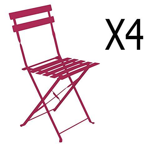 PEGANE Lot de 4 chaises pliantes en acier coloris framboise - Dim: 42 x 47 x 81 cm