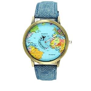 joyliveCY-Moda mujeres hombres vintage tierra mundo mapa Reloj Denim Tela Mu?eca relojes azul