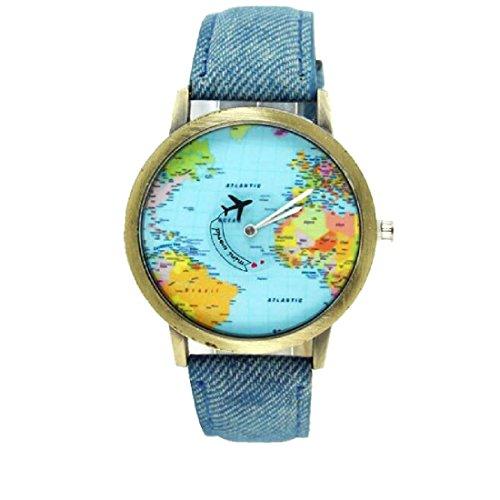 Moda mujeres hombres vintage tierra mundo mapa Reloj Denim Tela Muñeca relojes azul